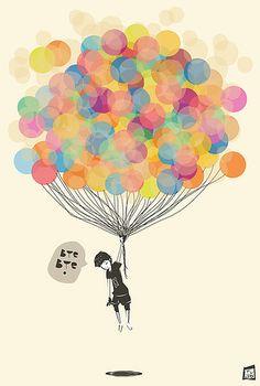 Imagem de balloons, boy, and bye