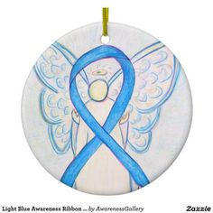 Prostate Cancer uses a light blue awareness ribbon. Light Blue Awareness Ribbon Angel Art Round Ceramic Christmas Ornament - The guardian angel holiday ornament features the painting of a light blue awareness ribbon angel. Light blue awareness angel ribbon art can be customized with personalized messages to make great cause ornaments or pendants for fundraisers, awareness Christmas or holiday gifts.