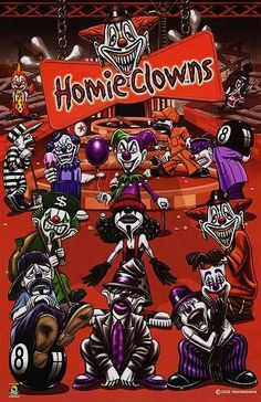 Homies Clows Lowrider Tattoo, Lowrider Art, Chicano Love, Chicano Art, Boog Tattoo, Badass Drawings, Cholo Art, Clown Faces, Send In The Clowns