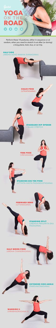 Get the blood flowing with these moves you can do anywhere your travels take you - a hotel room, the corner of an airport terminal, or even at a highway rest stop. #yoga #poses #travel http://greatist.com/fitness/yoga-road-infographic