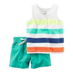 86e1e2db994a0 Baby Boy Carter s Striped Pocket Tank Top  amp  Turquoise Shorts Set