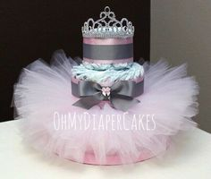 3 Tier Princess Diaper Cake, 2 Styles, Tutu Diaper Cake, Tiara Diaper Cake, Diaper Cake for Girl, Girl Baby Shower, Princess Baby Shower by OhMyDiaperCakes on Etsy https://www.etsy.com/listing/462320065/3-tier-princess-diaper-cake-2-styles