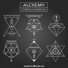 Alchemy symbols and badges in linear style Free Vector Alchemy Art, Alchemy Symbols, Magic Symbols, Word Symbols, Graphic Pattern, Sacred Geometry Symbols, Occult Art, Tatoo Art, Geometric Logo