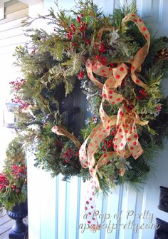 Traditional Christmas Wreath Makeover {The look of real greenery} AND potted front porch greenery-same steps, but see picture Christmas Scarf, Christmas Wreaths To Make, Santa Christmas, Christmas 2014, Holiday Wreaths, Winter Christmas, Holiday Crafts, Christmas Decorations, Holiday Decor