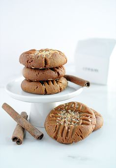 Cinnamon Coconut Peanut Butter Cookies - an awesome variation on your basic sugar free peanut butter cookies. Perfect for a low carb or keto diet, and naturally gluten free!