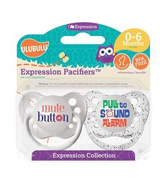 Mute Button & Pull to Sound Alarm 0-6M Pacifiers (Double Pack)