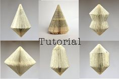 DIY Tutorial for folded Book Art - Patterns for 6 different Book sculptures: instant download