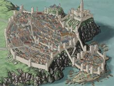 kampagne stadt The Capital-Shore City and the Grand Keep Fantasy City Map, Fantasy World Map, Fantasy Town, Fantasy Castle, Fantasy Places, Medieval Fantasy, Fantasy Art Landscapes, Fantasy Landscape, Fantasy Concept Art