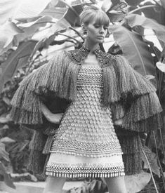 Yves Saint Laurent S/S 1967 Africa-inspired Bambara Collection dress and cape.