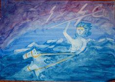 Waldorf ~ 5th grade ~ Ancient Greece ~ Poseidon ~ watercolor painting