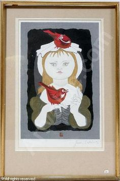 Girl with Cardinals. Junichiro Sekino.