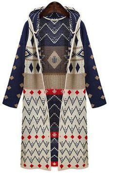Stylish Hooded Long Sleeve Zig Zag Geometric Women's CardiganSweaters & Cardigans | RoseGal.com