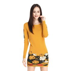 2014 New Autumn Elegant Hit Color Women Round Neck Long Sleeved Slim Step Dress Pullover Sweater Dress