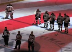 National Anthem before the play-off game between The Boston Bruins & The Tampa Bay Lightning in Florida - May, 2011. The Bruins went on to win the Stanley Cup that season!