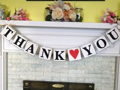 THANK YOU Sign  Wedding Banner Rustic by anyoccasionbanners