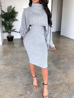 Sweater Plain Casual Turtleneck Bodycon Two Piece Sets – dressiu Casual Dresses, Casual Outfits, Fashion Dresses, Long Dresses, Sexy Dresses, Dress Skirt, Bodycon Dress, Magazine Mode, Plain Dress