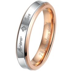 "Women - Size 7 - Men Women's ""Forever Love"" Fashion Stainless Steel Bands Cz Ring Love Couples Promise Engagement Wedding. Please check our offer of 2000s discount jewelry. Material: Stainless Steel. Available sizes: 5,6,7,8,9,10,11,12. Including one black velvet bag printed ""MENSO""."
