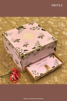 Light pink floral boxed wedding invitation with space for 4 large jars & a drawer for the inserts. For more design ideas, visit www.rohanaparna.com ——————————————— #rohanaparnainvitations #weddinginvitations #weddingcards #indianweddingcard #reception #weddingcard #shaadi #shaadicard#hinduweddingcard #mehendi #indianwedding #ecard #destinationwedding #weddingcards #royalwedding #boxweddingcard #floralweddingcard #lightpinkwedding Indian Wedding Cards, Card Box Wedding, Diwali Gift Hampers, Indian Wedding Invitations, Wedding Planning, Event Planning, Mehendi, Drawer, Reception