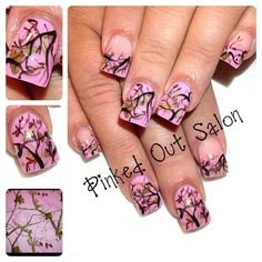 For all the girly girl hunters out there. Check out Pinked Out Salon on FB! Pink Camo Nails, Camo Nail Art, Camouflage Nails, Purple Camo, Country Nail Art, Country Girl Nails, Country Jewelry, Camo Nail Designs, Nail Art Designs
