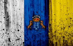 Download wallpapers Canary Islands flag, 4k, grunge, flag of Canary Islands, Africa, Canary Islands, national symbols, Canary Islands national flag, Canary