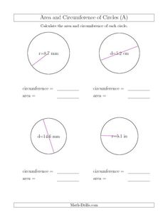 Worksheets Circumference And Area Of Circles Worksheet a bunch of worksheets for areacircumference wall remediation circumference circle calculate and area circles a