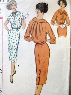Vintage Simplicity 2577 Sewing Pattern 1950s Dress Pattern