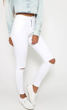 White Ripped Skinny Jeans