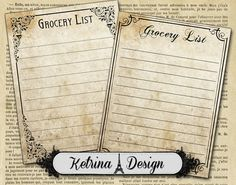 Vintage Grocery List Cards 3 x 4 instant download by KetrinaDesign