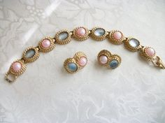 SOLD – Vintage Pastel Reflections Sarah Coventry by PhylmasFabulousFinds – SOLD - Fashion Blue Gold, Pink Blue, Sarah Coventry Jewelry, String Bag, Old Jewelry, All About Fashion, Clip On Earrings, Earring Set, Pastel
