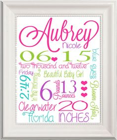 PRINTABLE Baby Girl Birth Announcement, Custom Kids Print, Nursery Wall Art, Baby Name Art, Birth Stats Personalized, Kids subway art on Etsy, $19.99