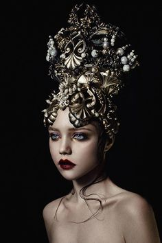 gold pearl (headpiece) by AgnieszkaOsipa on DeviantArt model - Russian actress Olga Makeeva style - Pearl Headpiece, Headdress, Dark Beauty, Gold Pearl, Headgear, Belle Photo, Wearable Art, Fashion Art, Face Fashion