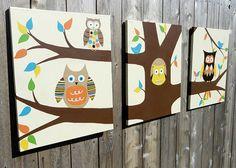 Buho vivero pared arte sala de niños decoración de por rkbrushworks