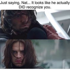 Seeing glimpses of Bucky while he's in Winter Soldier mode make me want to set myself on fire <<< I hope sometime in the future of the MCU they address Bucky's history with Nat Marvel Jokes, Marvel Funny, Marvel Heroes, Marvel Avengers, Sebastian Stan, Bucky Barnes, Marvel Universe, Bucky And Natasha, Winter Soldier Bucky