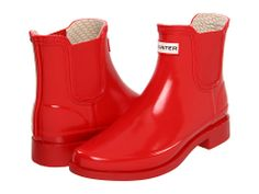 {These remind me of the red patent rain boots I had as a little girl.} Hunter Bradwell Chelsea Rubber Rain Boots in Pillar Box Red