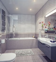 Gorgeous bathroom design with gray color.
