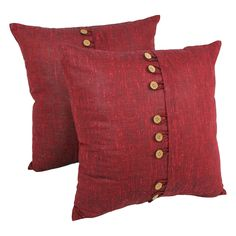 Add depth and texture to your decor with the fascinating button accents on these throw pillows. Available in rustic burgundy or sage green, these pillows are an asset to your home.