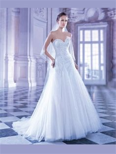 White A Line Sweetheart Beading Tulle 2014 Wedding Dresses AWD100013