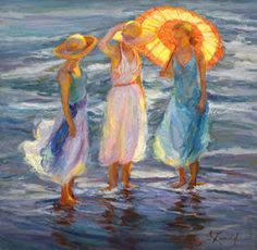 Afternoon at the Beach ~ Diane Leonard- I love wearing a long dress at the beach and letting it flow with the wind and get the hem wet at the water's edge...