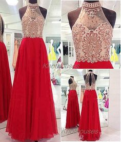 Halter Sheer Neck Luxury Beads Red Chiffon Prom Dress/ red Prom Dress/ Pageant dress  This dress can be custom made, both size and color can be custom made. Custom size and color made will charge for no extra. If you need a custom dress, please send us messages for your detail requirements.  ...