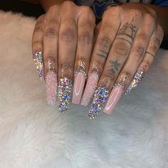 Nail art Christmas - the festive spirit on the nails. Over 70 creative ideas and tutorials - My Nails Bling Acrylic Nails, Square Acrylic Nails, Aycrlic Nails, Glam Nails, Best Acrylic Nails, Bling Nails, Jolie Nail Art, Look Rose, Exotic Nails
