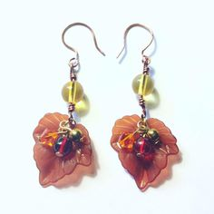 Fall leaves Earrings with Red Orange and Gold Hematite Beads, Autumn Earrings, Fall jewelry Leaf Jewelry, Fall Jewelry, Wire Jewelry, Leaf Earrings, Dangle Earrings, Affordable Jewelry, Gold Pearl, Pearl Beads, Statement Earrings