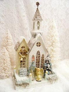 Putz House ~ The Roseberry Cottage Noel Christmas, Christmas Paper, Pink Christmas, Christmas Projects, All Things Christmas, Vintage Christmas, Christmas Ornaments, Xmas, Christmas Village Houses