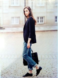Black Brogue Style - How To Wear It #womenswear #fall #outfit #jeans #blazer