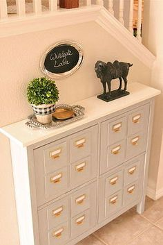 faux card catalog, chalk paint, painted furniture, repurposing upcycling, storage ideas