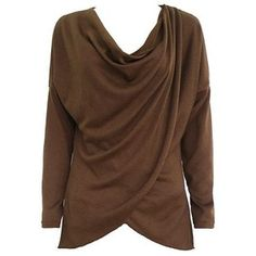 Rotita Coffee Cowl Neck Long Sleeve Blouse