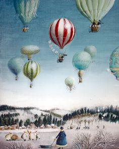 "Rie Kono; Acrylic, ""Ballooning over everywhere: Winter"""