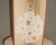 Book folding pattern - Christmas Globe With Stars 1 - Cut And Fold Type  - folded book art, origami, gift by BookFoldingBoutique on Etsy