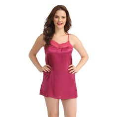 SATIN & LACE BABYDOLL WITH CROSS BACK STRAPS - PURPLE