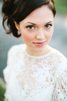 Soft makeup for your wedding day. I'd add more liner to the eyes and bolder lashes.