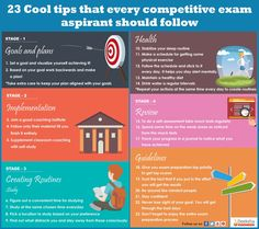 23 cool tips for every competitive exam aspirant - Infographic Portal French Lessons, Spanish Lessons, Teaching Spanish, Gate Exam Preparation, Study Time Table, Exam Motivation, Neet Exam, Exams Tips, Study Techniques